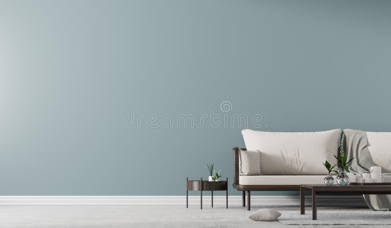 Binnenlandse muurspot omhoog met Skandinavische stijlbank met coffelijst Minimalistisch binnenlands ontwerp 3D Illustratie stock foto