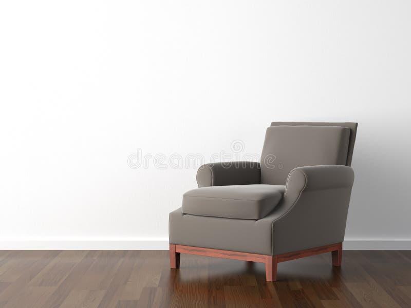 Binnenlandse ontwerp bruine leunstoel stock illustratie