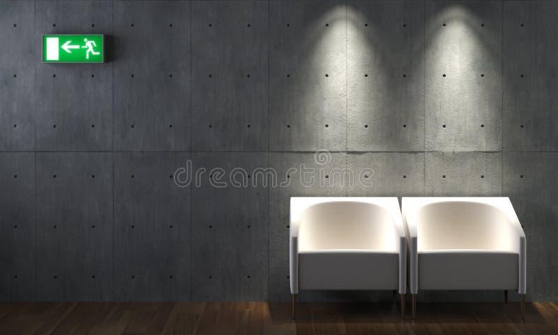 Binnenlandse ontwerp concrete muur en stoelen stock afbeelding