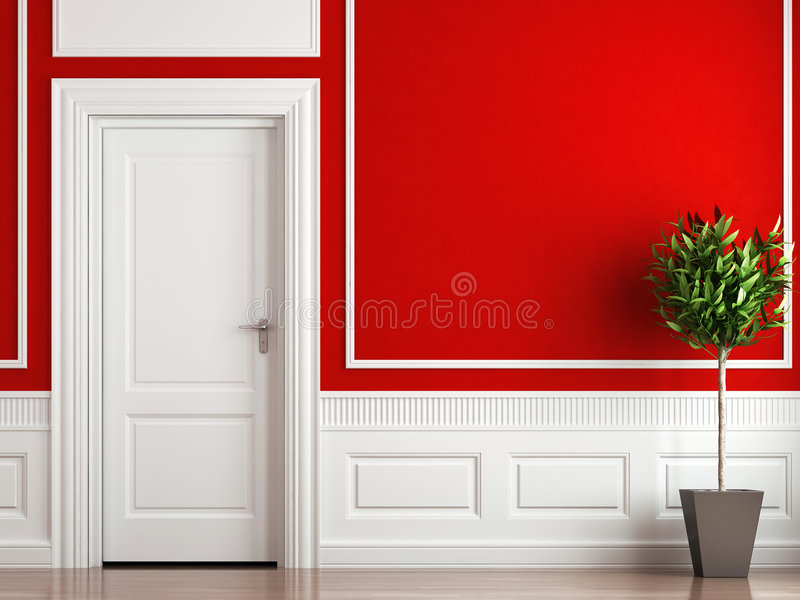 Binnenlandse ontwerp klassieke rood en wit royalty-vrije illustratie