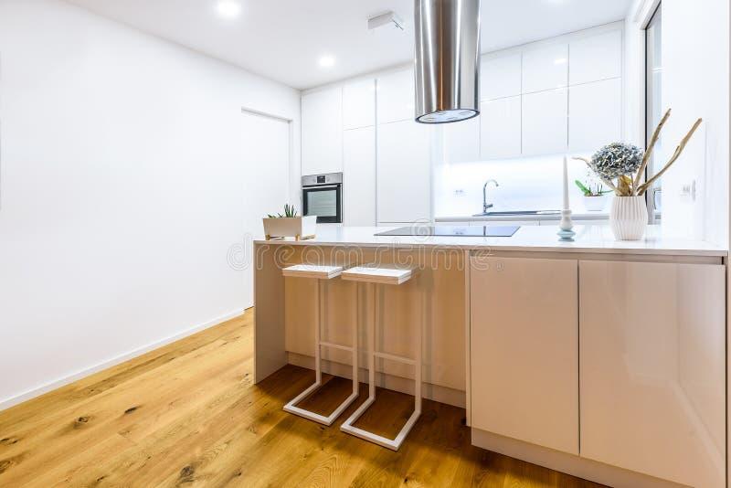 Binnenlandse ontwerp nieuwe moderne witte keuken met keukentoestellen royalty-vrije stock foto