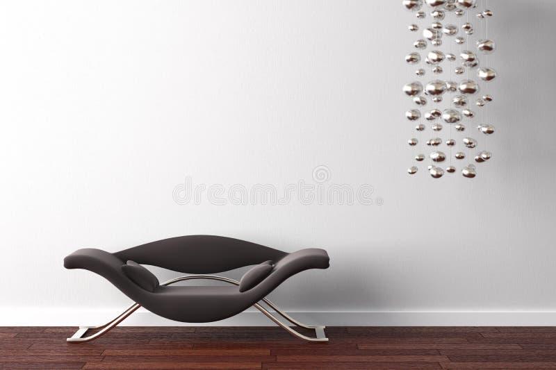 Binnenlandse ontwerpleunstoel en lamp royalty-vrije illustratie