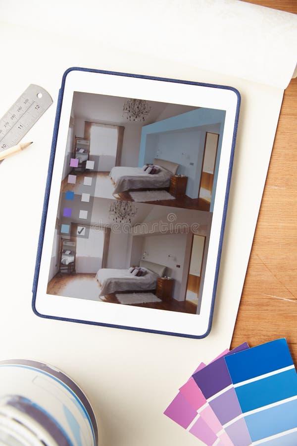 Binnenlandse Ontwerptoepassing op Digitale Tablet stock foto's
