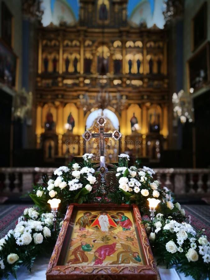 Binnenlandse Orthodoxe Kerk Artistiek kijk in kleuren royalty-vrije stock foto's