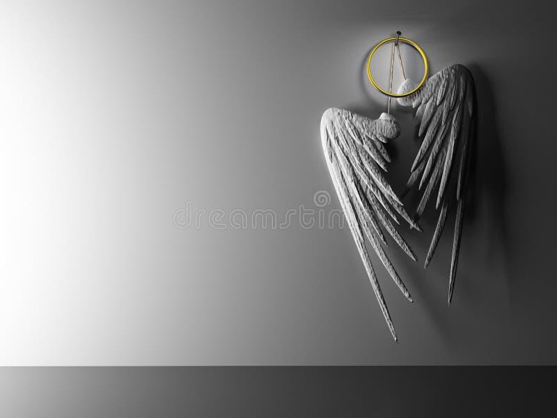 Binnenlandse paar witte vleugels die op muur van een scharnier voorzien stock illustratie