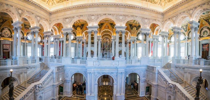 Binnenlandse Panoramabibliotheek van Congres Washingt D C Architectuur royalty-vrije stock foto