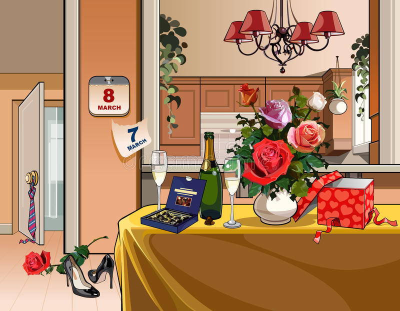 Binnenlandse ruimte met dinerlijst voor een vakantie op acht Maart vector illustratie
