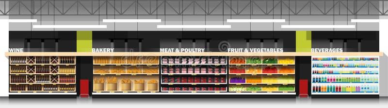 Binnenlandse scène van moderne supermarkt met producten stock illustratie