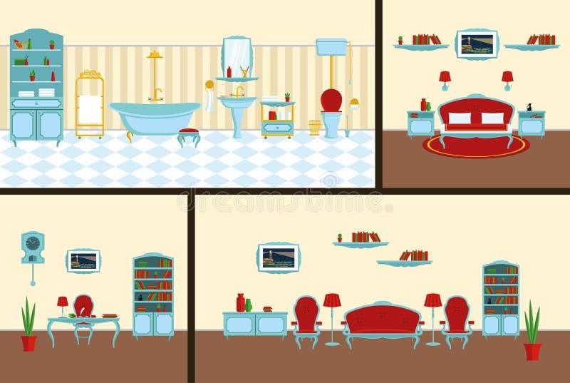 Binnenlandse slaapkamer, badkamers, die roominin een klassieke stijl volledige reeks van meubilair en decoratie leven stock illustratie