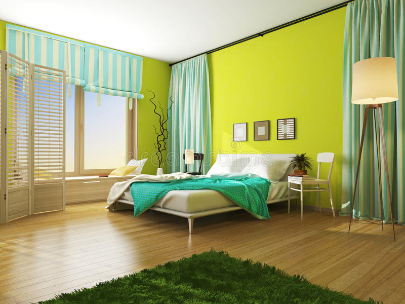Binnenlandse slaapkamer met een deken en van de gordijnkleur turkoois vector illustratie