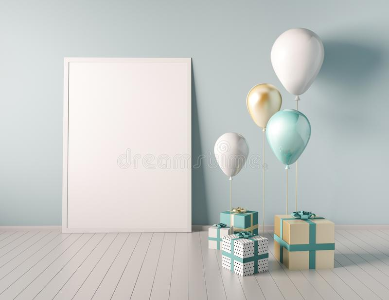 Binnenlandse spot op scène met blauwe en gouden giftdozen en ballons Realistische glanzende 3d voorwerpen voor verjaardagspartij  royalty-vrije illustratie