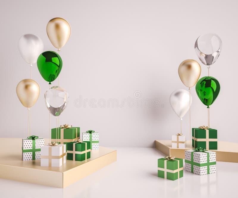 Binnenlandse spot op scène met groene en gouden giftdozen en ballons Realistische glanzende 3d voorwerpen voor verjaardagspartij  stock illustratie