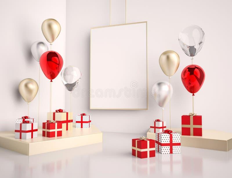 Binnenlandse spot op scène met rode en gouden giftdozen en ballons Realistische glanzende 3d voorwerpen voor verjaardagspartij of vector illustratie
