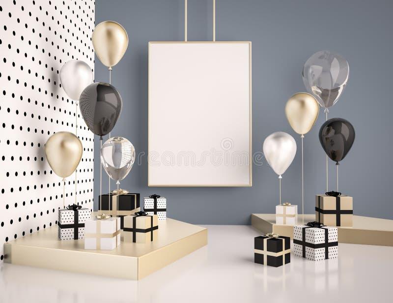 Binnenlandse spot op scène met zwarte en gouden giftdozen en ballons Realistische glanzende 3d voorwerpen voor verjaardagspartij  stock illustratie