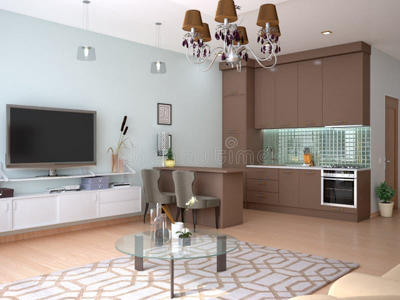 Binnenlandse studiowoonkamer met keuken royalty-vrije illustratie