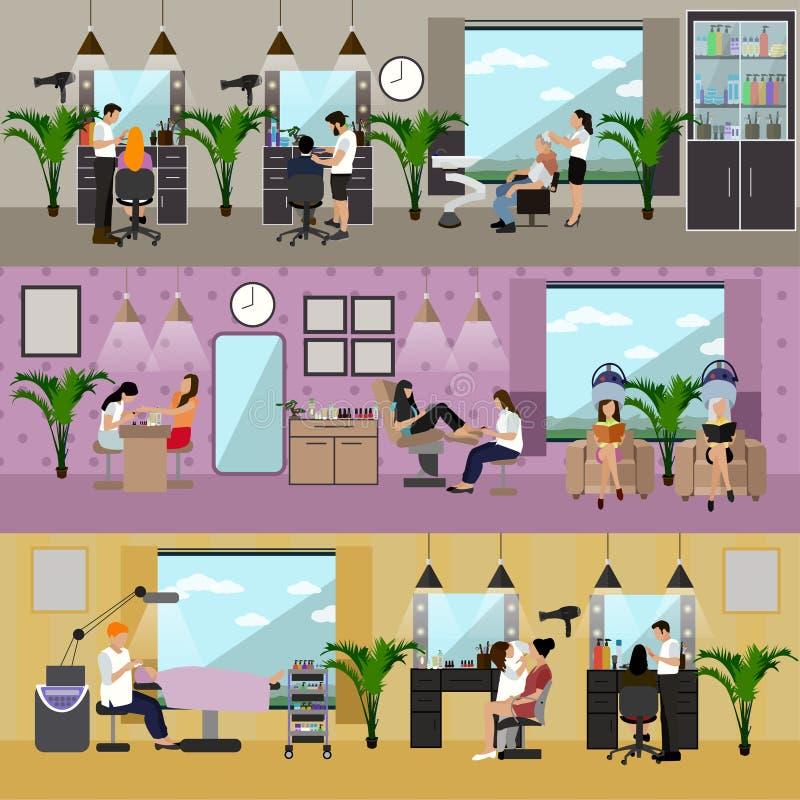 Binnenlandse vector het conceptenbanners van de schoonheidssalon Het kapsel, manicure en maakt omhoog atelier Women spa, schoonhe vector illustratie