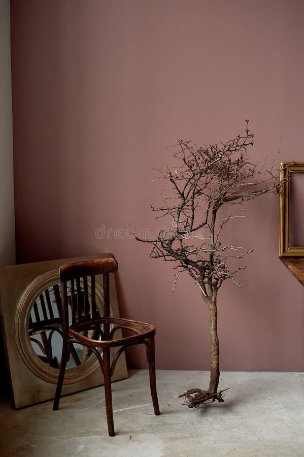 Binnenlandse verlatenheid en verwoesting Een dode tak, een stoel zonder een zetel Bruine muren royalty-vrije stock afbeelding