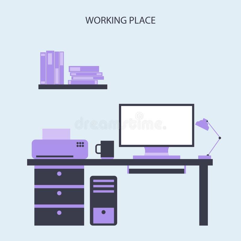 Binnenlandse Vlakke het Ontwerp Vectorillustratie van het werkende Plaats Moderne Bureau stock illustratie