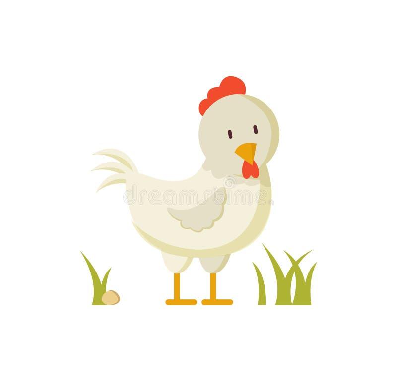 Binnenlandse Vogel Wit Hen Crest Illustration Poster stock illustratie