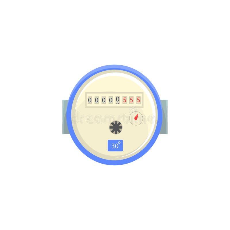 Binnenlandse watermeter, de vectorillustratie van het huishouden meetinstrument stock illustratie