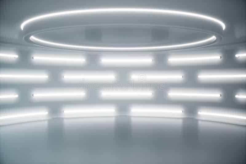 Binnenlandse witte futuristische achtergrond, binnenlands concept sc.i-FI Leeg binnenland met neonlichten 3D illustratie stock foto