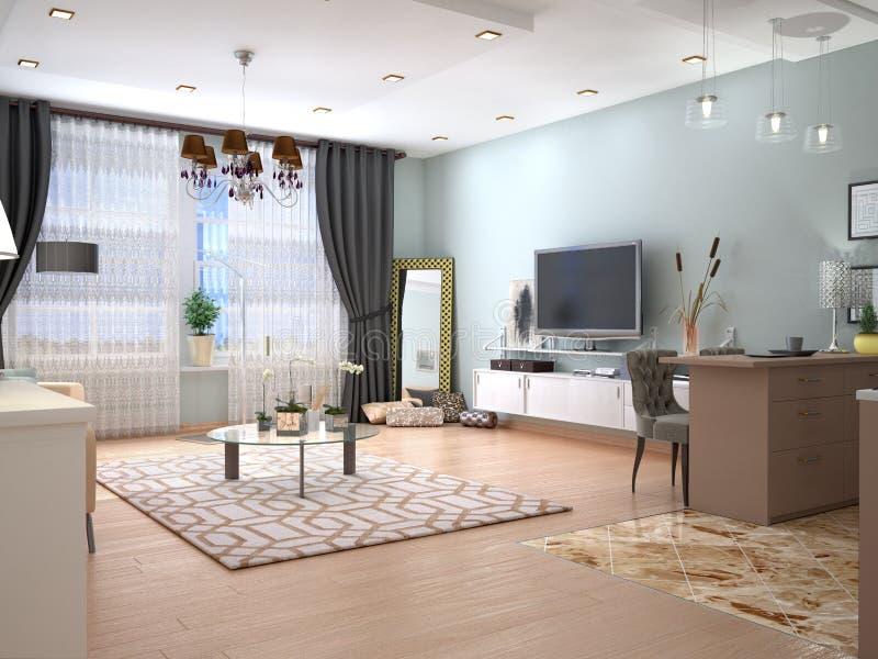 Binnenlandse woonkamer met TV op de muur vector illustratie