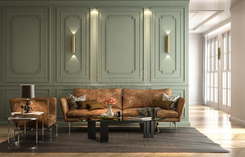 Binnenlandse woonkamer, moderne klassieke stijl, met losse bankhuid royalty-vrije illustratie