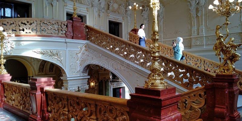 Binnenlandse Zaken van het Opera House in Odessa, Oekraïne stock fotografie