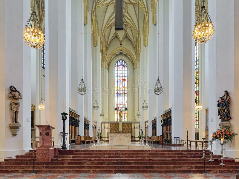 Binnenlandse Zaken van München Frauenkirche, Duitsland royalty-vrije stock foto's