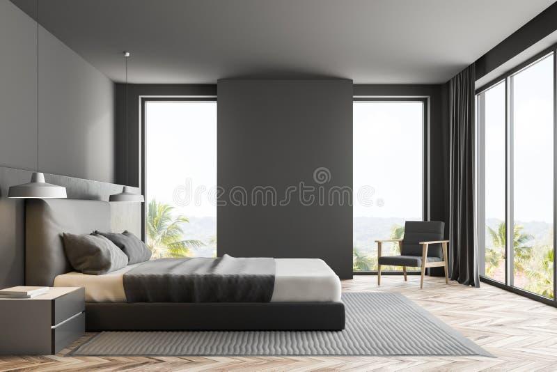 Binnenlandse, zijaanzicht van de luxe het grijze slaapkamer vector illustratie