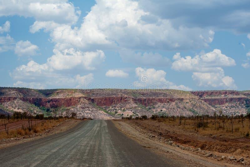 Binnenlandweg in Kimberley Region van Australië royalty-vrije stock afbeeldingen