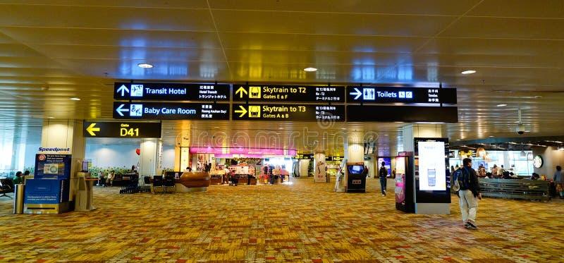 Binnenmening van de Changi luchthaven in Singapore royalty-vrije stock fotografie