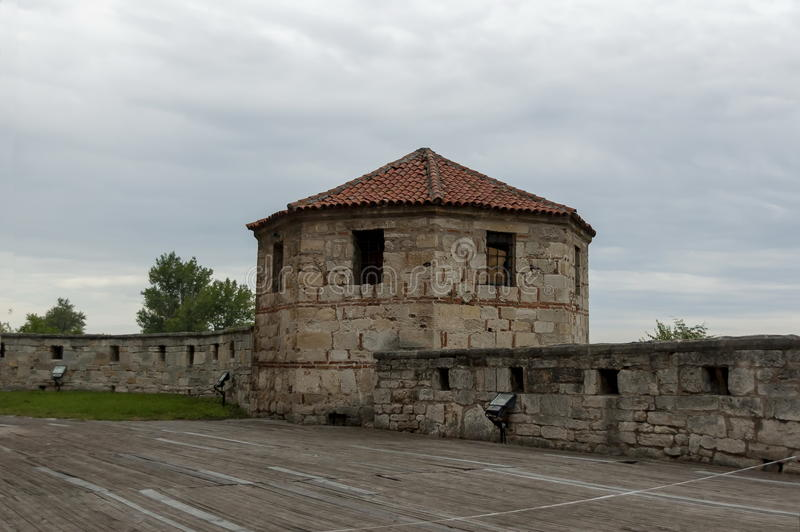 Binnenmening van de middeleeuwse vesting Baba Vida bij de Rivier van Donau in Vidin-stad royalty-vrije stock foto's