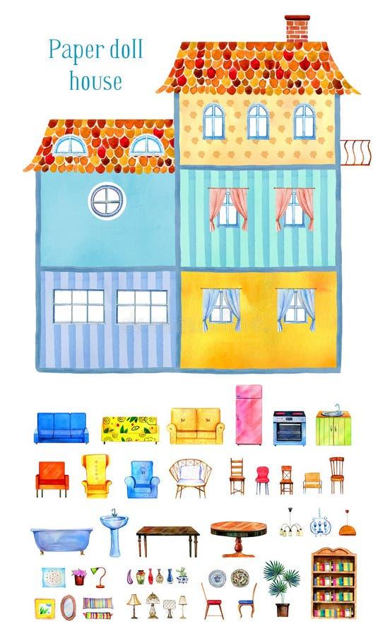 Binnenmening van groot leeg beeldverhaaldocument poppenhuis met reeks meubilair en decoratie Hand getrokken waterverfillustratie royalty-vrije illustratie