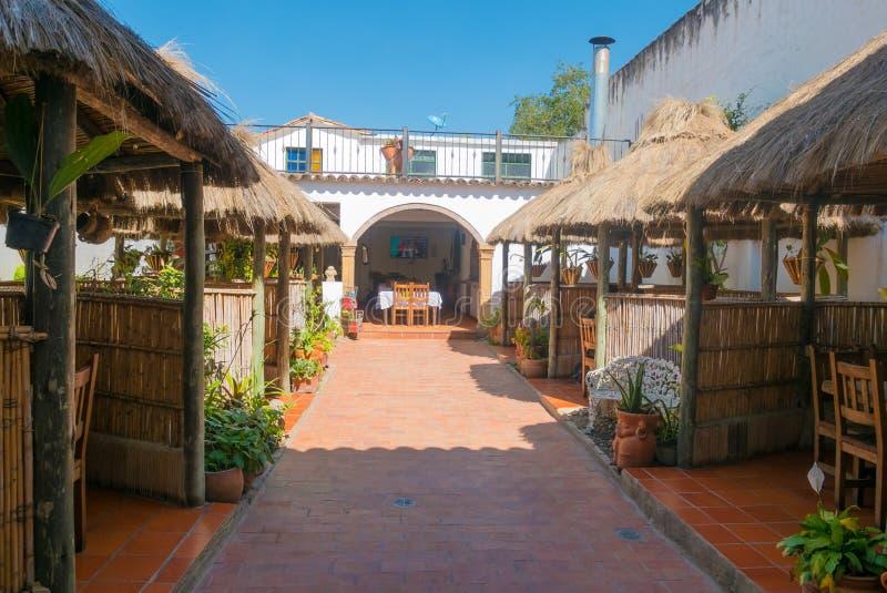 Binnenmening van typisch restaurant in Villa DE Leyva Colombia royalty-vrije stock afbeeldingen