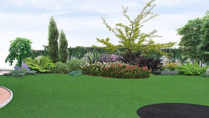 Binnenplaats 3d planten van groen, geeft terug vector illustratie