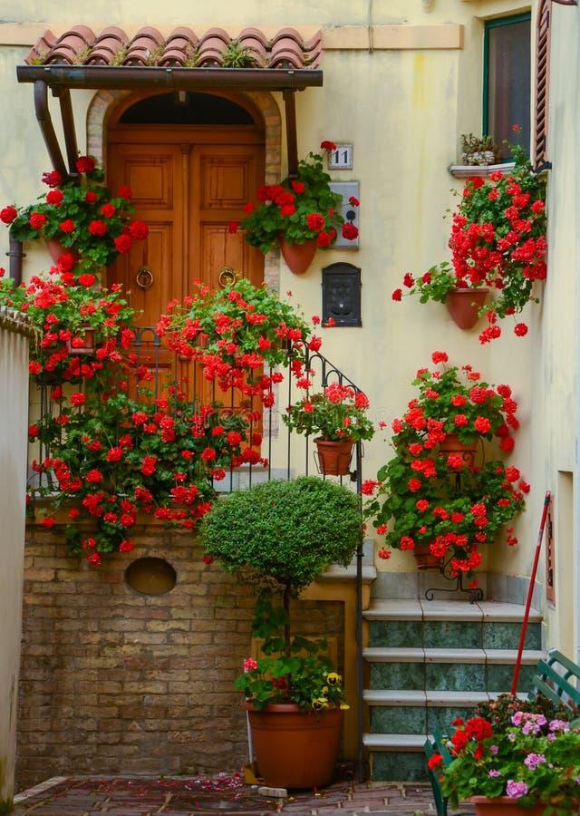 Binnenplaats in stad Atri, deur en treden met rood stock afbeeldingen