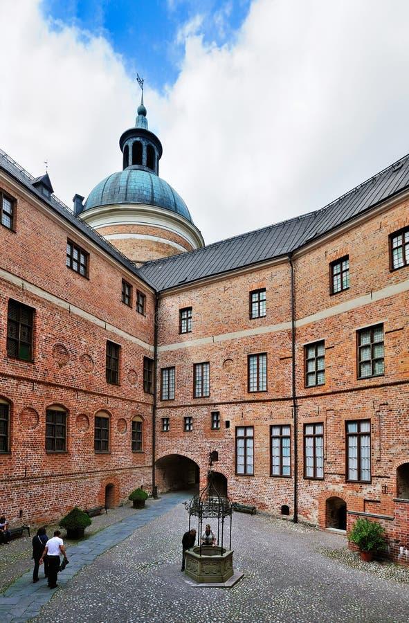 Binnenplaats van Gripsholm Kasteel, Zweden; stock afbeelding