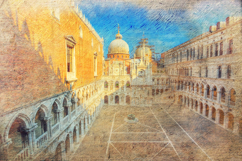 Binnenplaats van het paleis van de Doge. Venetië. Italië. royalty-vrije stock afbeelding