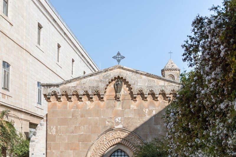 Binnenplaats van Kerk van de Veroordeling en de Heffing van het Kruis dichtbij Lion Gate in Jeruzalem, Israël stock foto