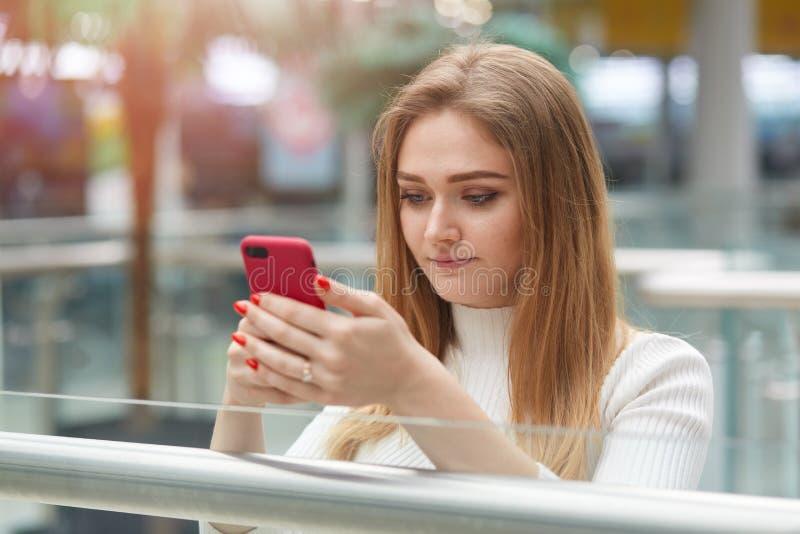 Binnenschot van de aandachtige ernstige eerlijke haired smartphone van de meisjesholding in ger handen, bekijkend het zijn scherm royalty-vrije stock afbeelding