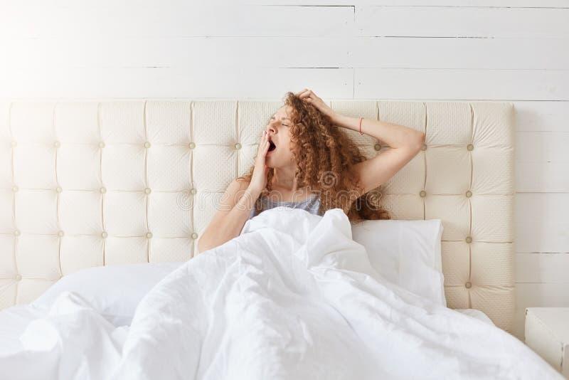 Binnenschot van het vreedzame aantrekkelijke jonge dame ontspannen in haar bed in ochtend, geeuw, die haar mond behandelen met éé royalty-vrije stock fotografie