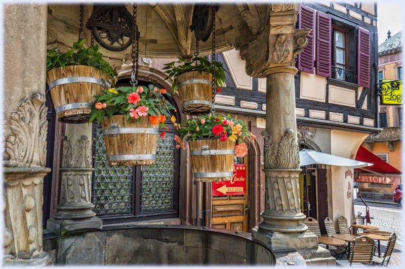 Binnenstad van Obernai, de Elzas, Frankrijk stock foto