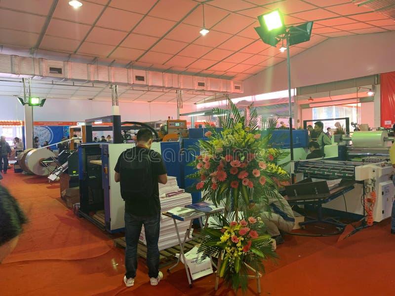 Binnententoonstelling van printers en drukmaterialen - Hanoi, Vietnam 21 Maart, 2018 royalty-vrije stock afbeeldingen