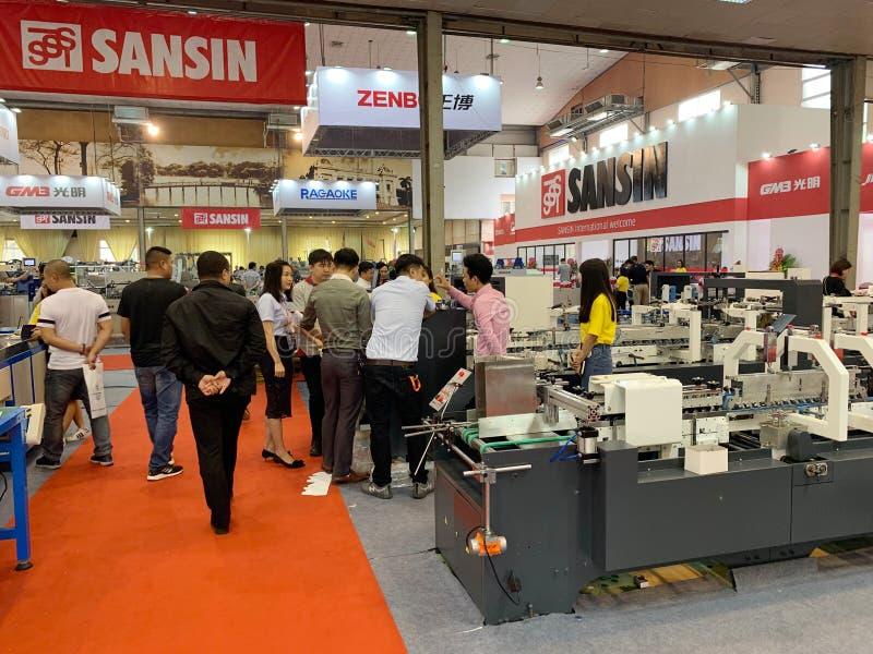 Binnententoonstelling van printers en drukmaterialen - Hanoi, Vietnam 21 Maart, 2018 stock foto's