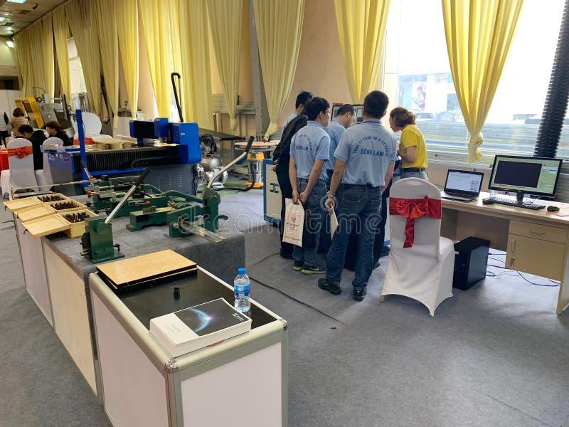 Binnententoonstelling van printers en drukmaterialen - Hanoi, Vietnam 21 Maart, 2018 royalty-vrije stock foto