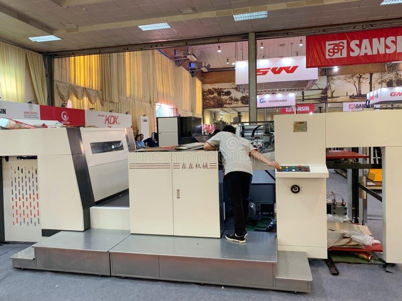 Binnententoonstelling van printers en drukmaterialen - Hanoi, Vietnam 21 Maart, 2018 stock afbeeldingen