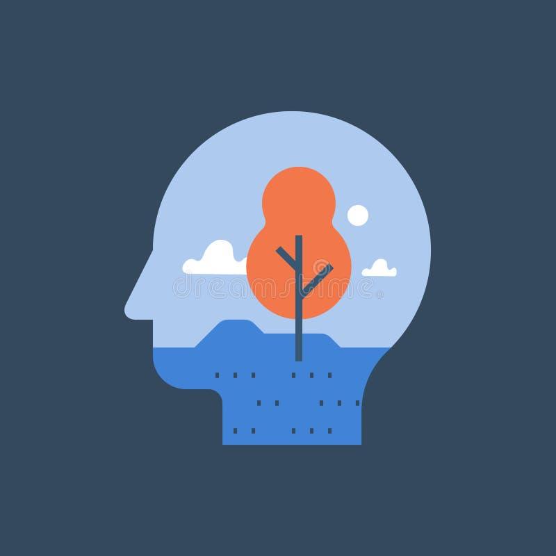 Binnenvrede, harmonie en geestelijk welzijn, het duidelijke denken, meditatieconcept, zelfbezinning, psychotherapie vector illustratie