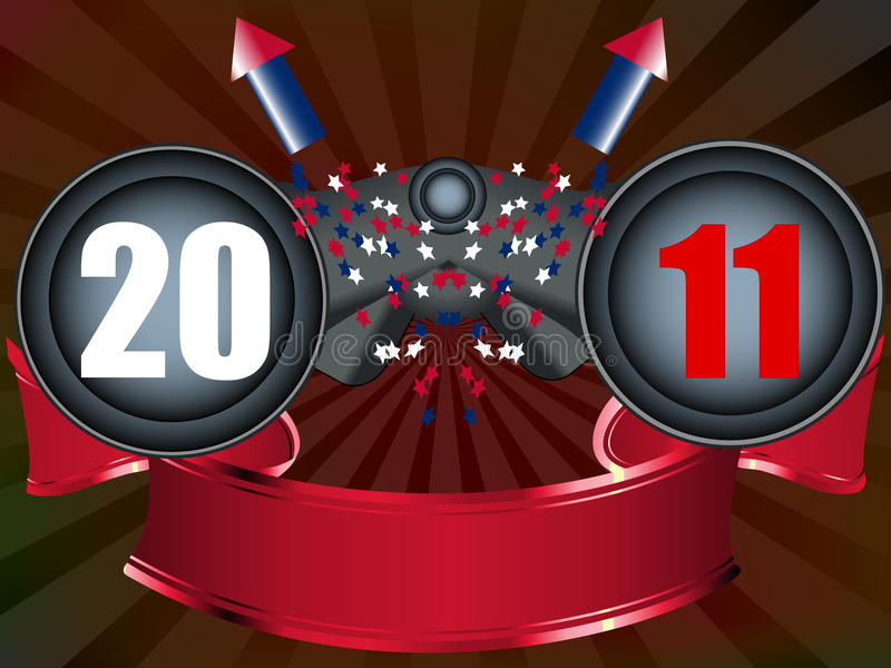 Binocolo con i fuochi d'artificio che esaminano futuro 2011 illustrazione di stock