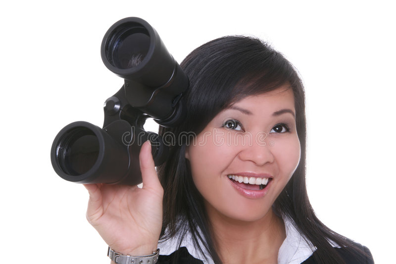 Binocolo della donna di affari fotografia stock